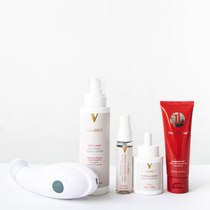 A vertical product shot of the Joylux vFit intimate wellness device, cleansHER intimate wash, refresHER mist, revitalizHER serum and Photonic Gel.