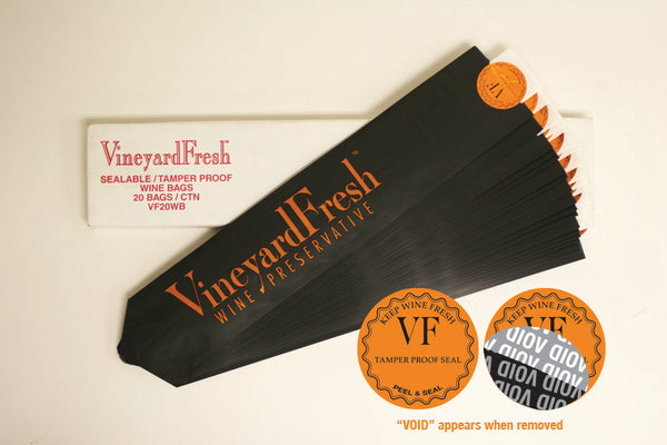 VineyardFresh - Take Home Tamper Proof Wine Bags (Pack of 20ea)