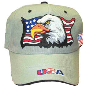 Gray Patriotic Eagle Flag Cap
