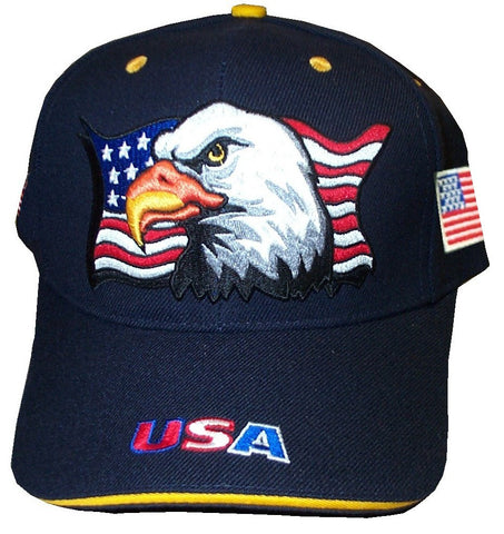 Navy Blue Patriotic Eagle Flag Cap