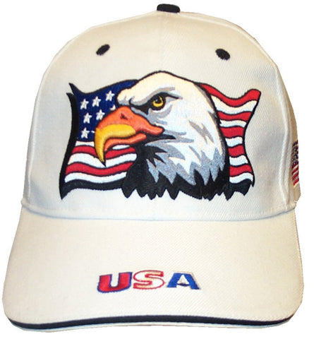 White Patriotic Eagle Flag Cap