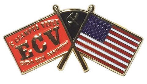 ECV and American Flags Pin