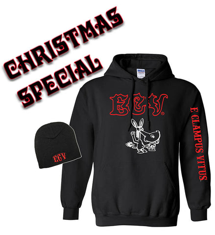 Christmas Special: Black ECV Hooded Pullover Sweatshirt with a Beanie