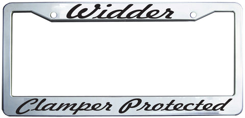 Widder - Clamper Protected Plastic License Plate Frame in Chrome/Black