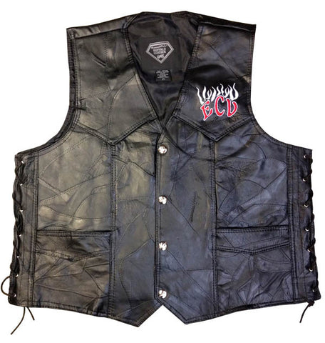 ECV Flaming Skull Leather Vest