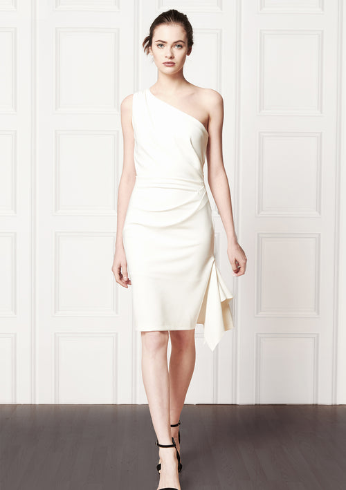 Asymmetric, white, knee length, one-shoulder evening dress