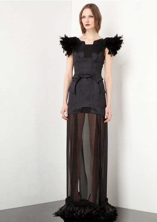 Long, black organza dress with feather details