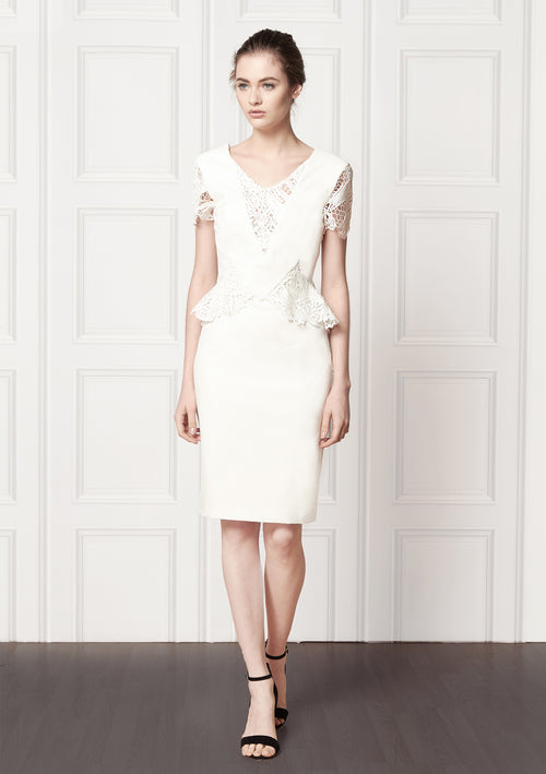 Ruby White Stretch Cady Dress - HEMYCA London