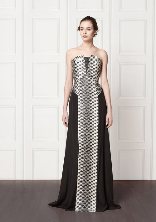 Bespoke, strapless, evening dress with Jacquard panelling in black and white