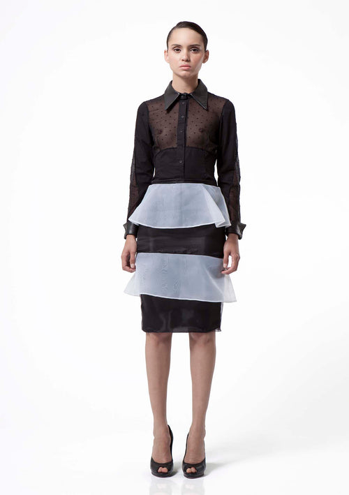 Elegant, black and white organza pencil skirt