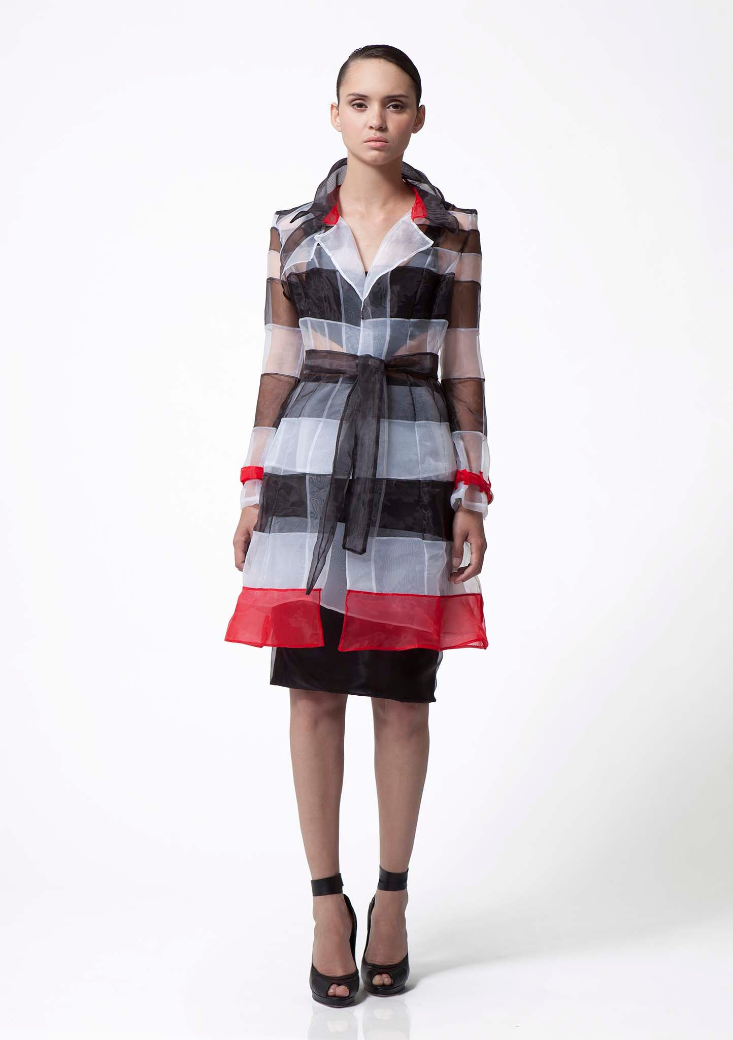 Modern organza coat with tie waist and red detail