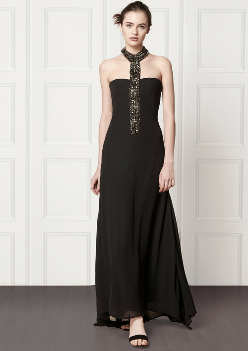 Black, strapless, bespoke gown with halter-neck detailed with beaded gemstone embellishments