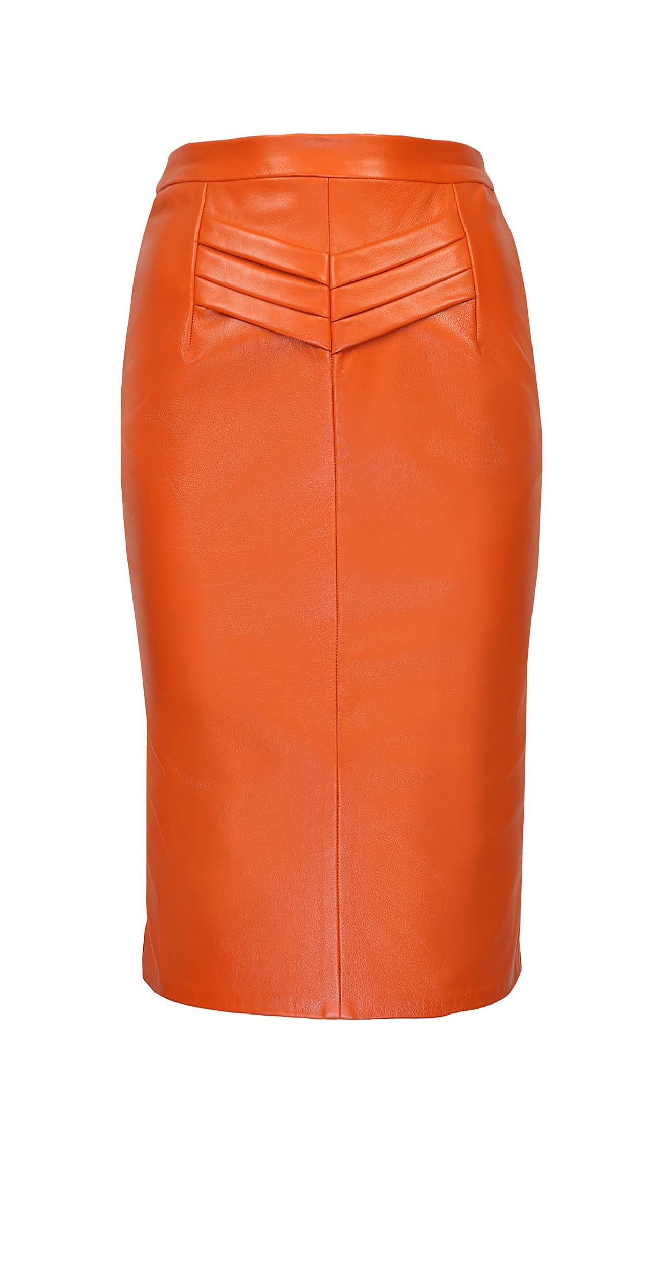 Hot orange leather pencil skirt with a high-rise waist