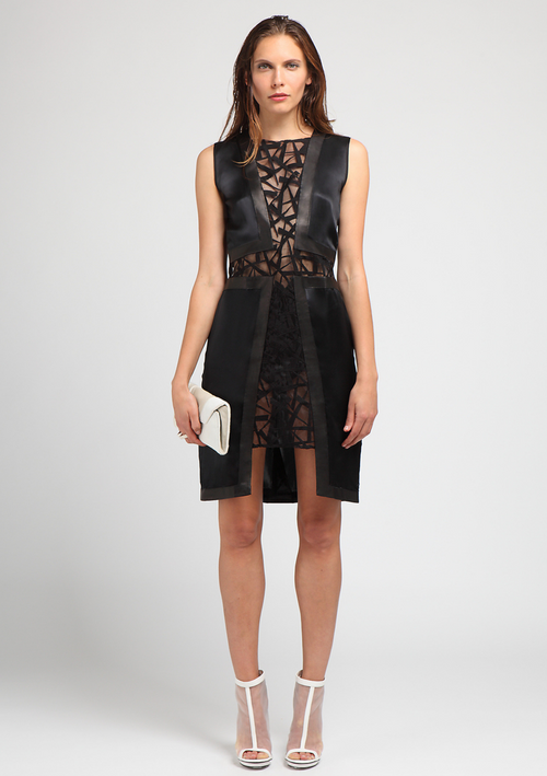Black, knee length, evening sleeveless dress with detailed lace paneling at the front and back