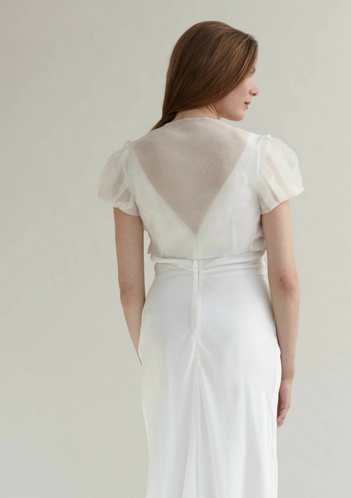 White translucent delicate organza cover up with pleated puff sleeves