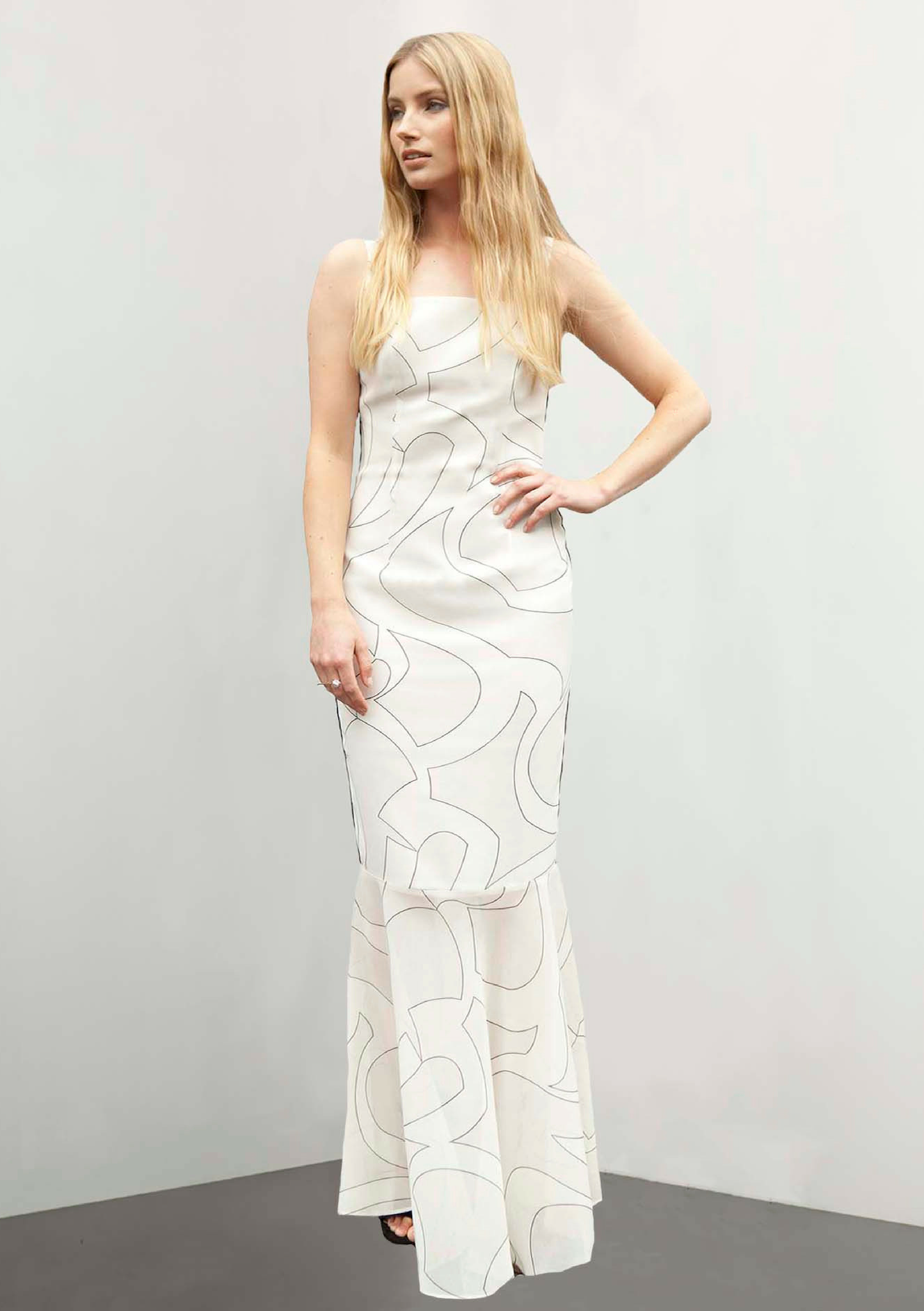 White evening gown with a wave print