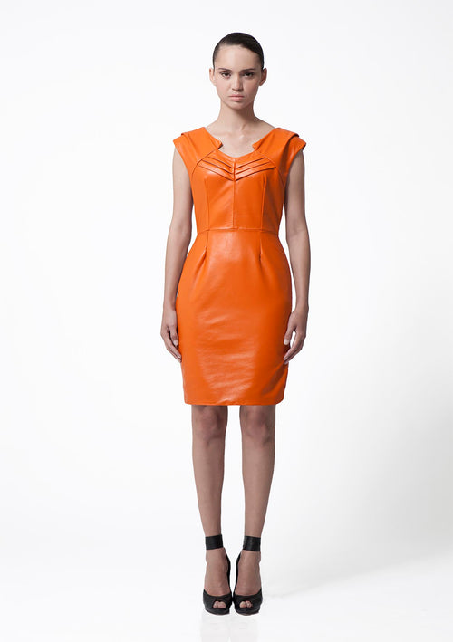 Sleeveless, knee length, hot orange leather dress with a geometric neckline