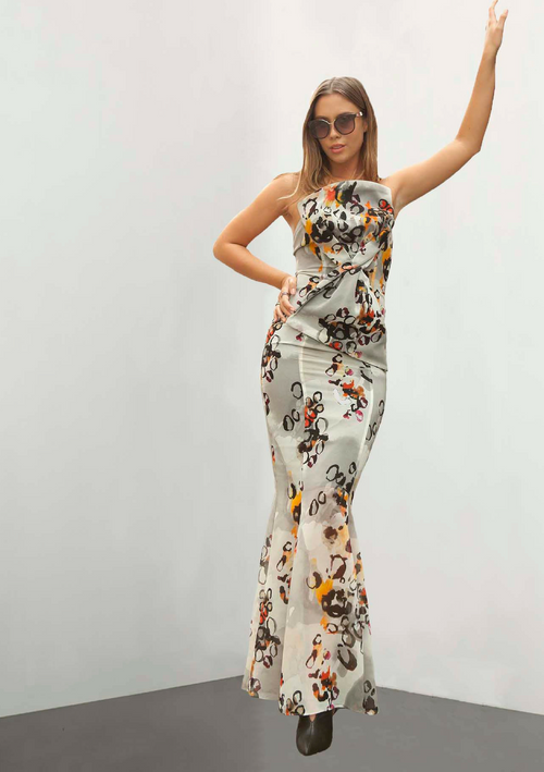 Strapless, printed georgette bustier dress with trendy animal print