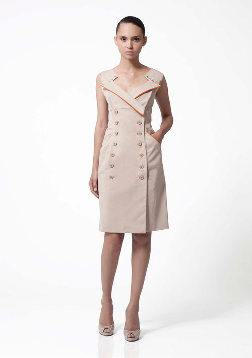 Classic wrap front, double-breasted, camel cotton dress