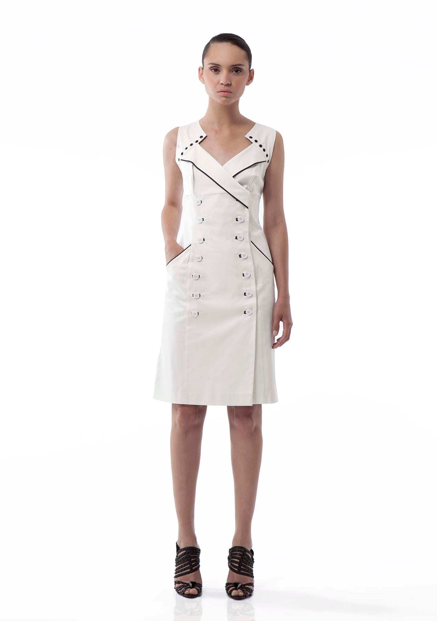 Classic wrap front, double-breasted, white cotton dress
