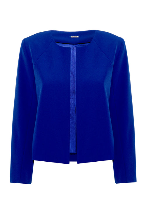 Ida Blue Collarless Jacket - HEMYCA London