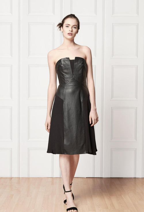 Off shoulder, over the knee black leather dress