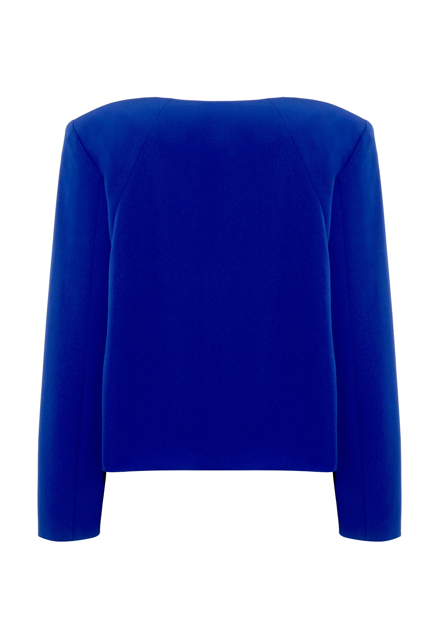 Slim-fit, collarless bold blue jacket