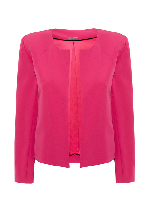Slim-fit, hot pink, collarless jacket