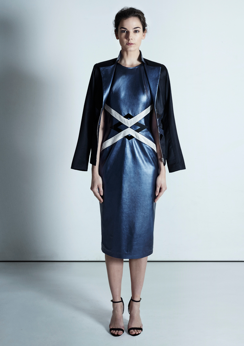 Sleeveless, midi length, metallic leather dress detailed with geometric panels at waist