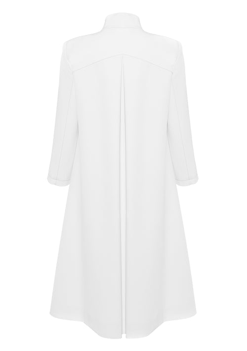 A-line white coat with 3/4 sleeves and box pleat at the back