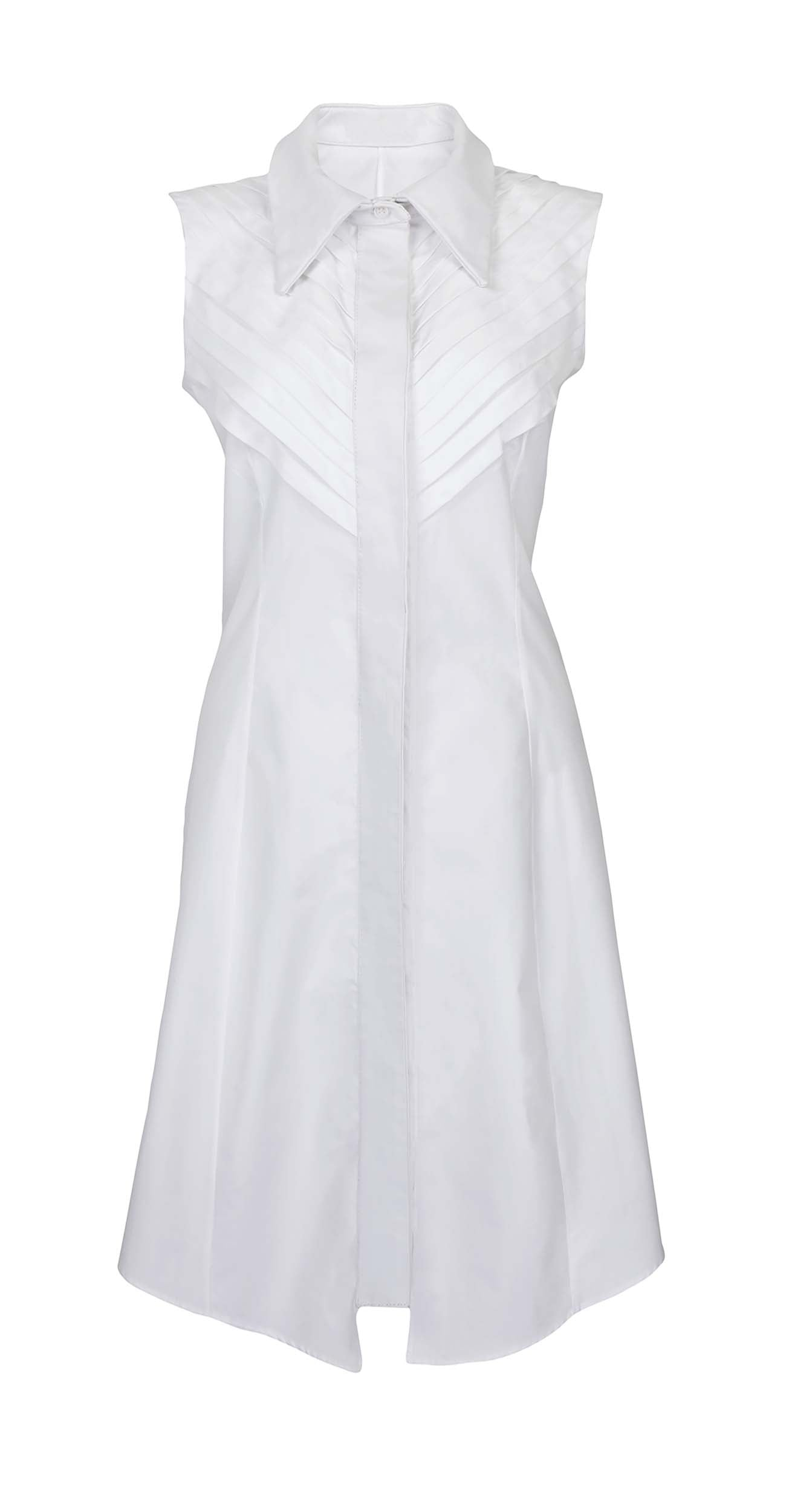 White sleeveless chic shirt with a collar
