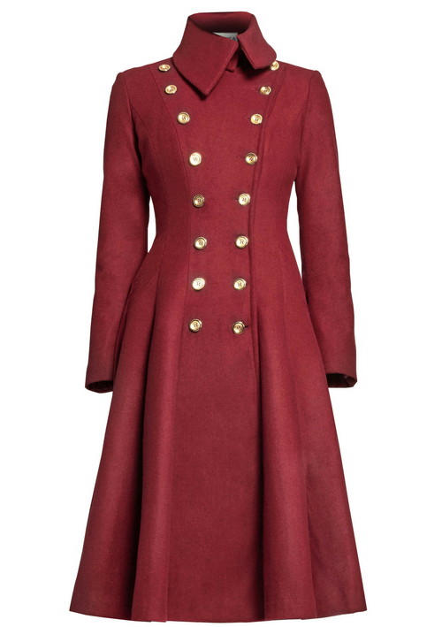 Red wool, double-breasted, military coat detailed with gold buttons