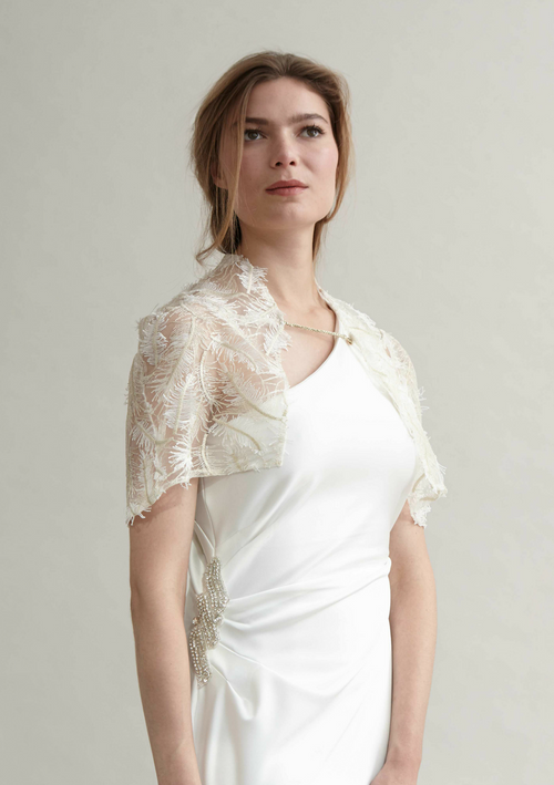 White and gold delicate lace cover up