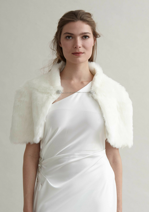 Misty White faux fur Cape - HEMYCA London