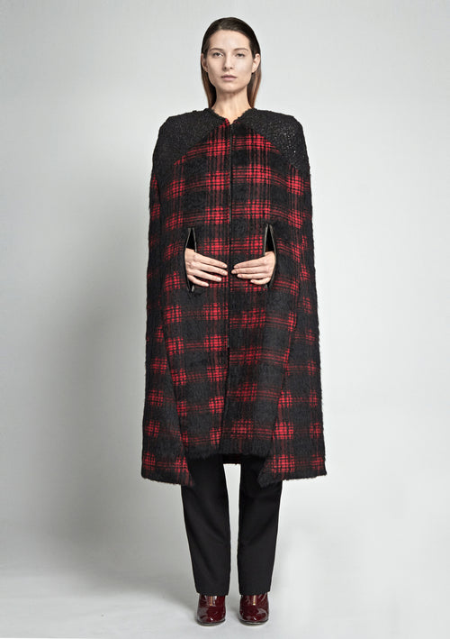 Classic, long, red and black plaid cape