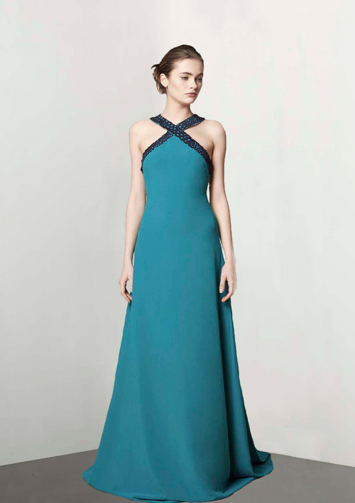Evening dress with halter collar detailed with a dark blue laser cut texture on the neck and back