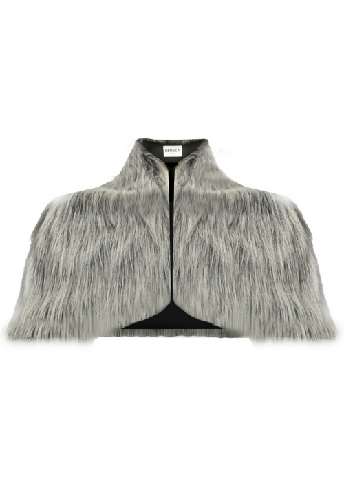 Grey, short soft faux fur cape