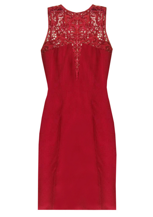 Red silk, sleeveless and over the knee, fitted dress with lace details