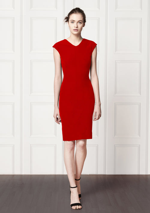 Red hot fitted, sleeveless, knee length dress
