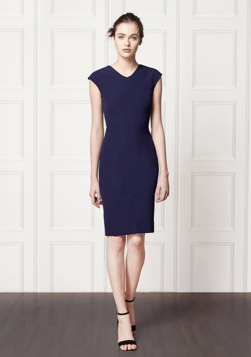 Peggy Navy Stretch Cady Dress - HEMYCA London