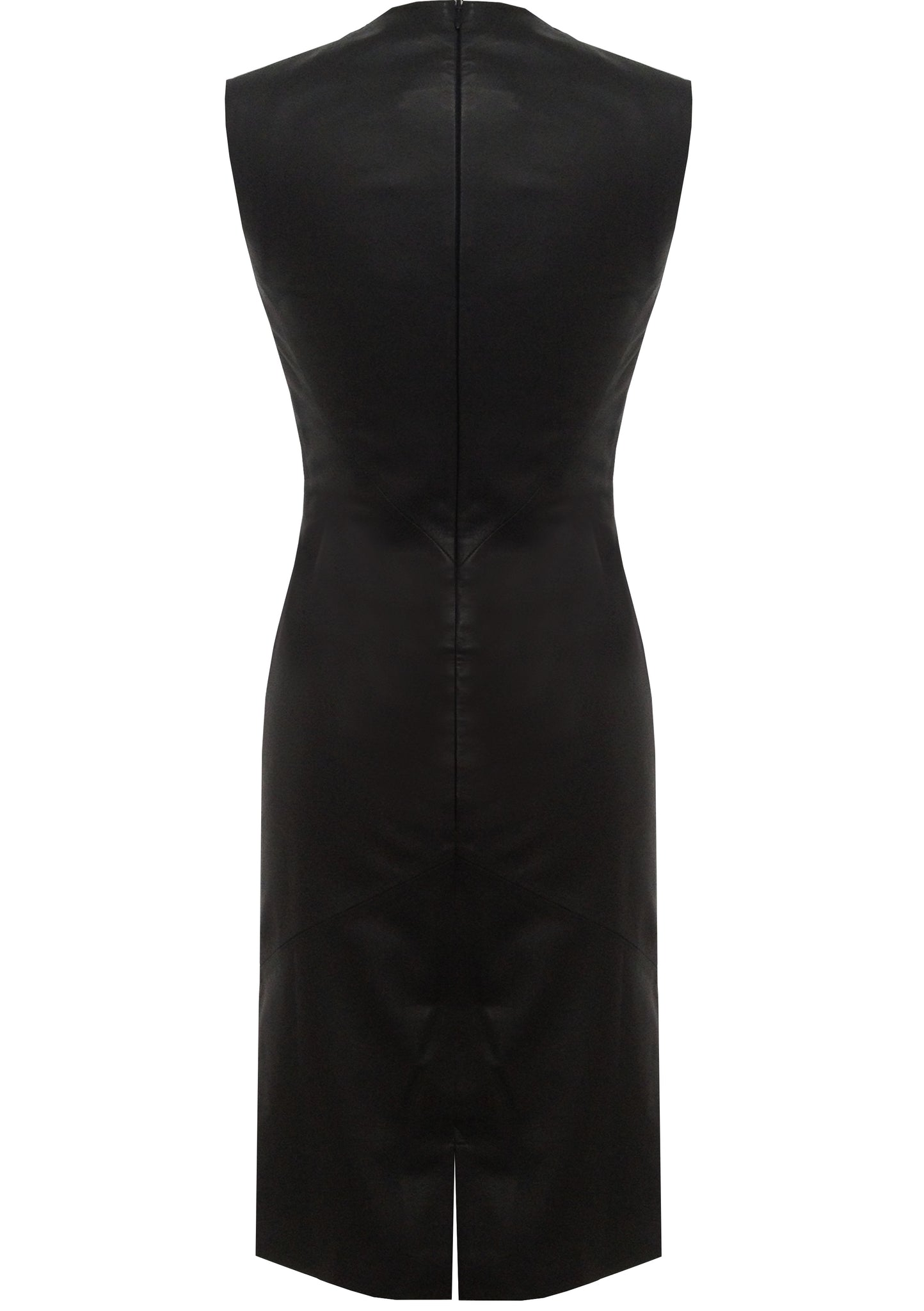 Classic pencil, sleeveless and knee-length, black leather dress