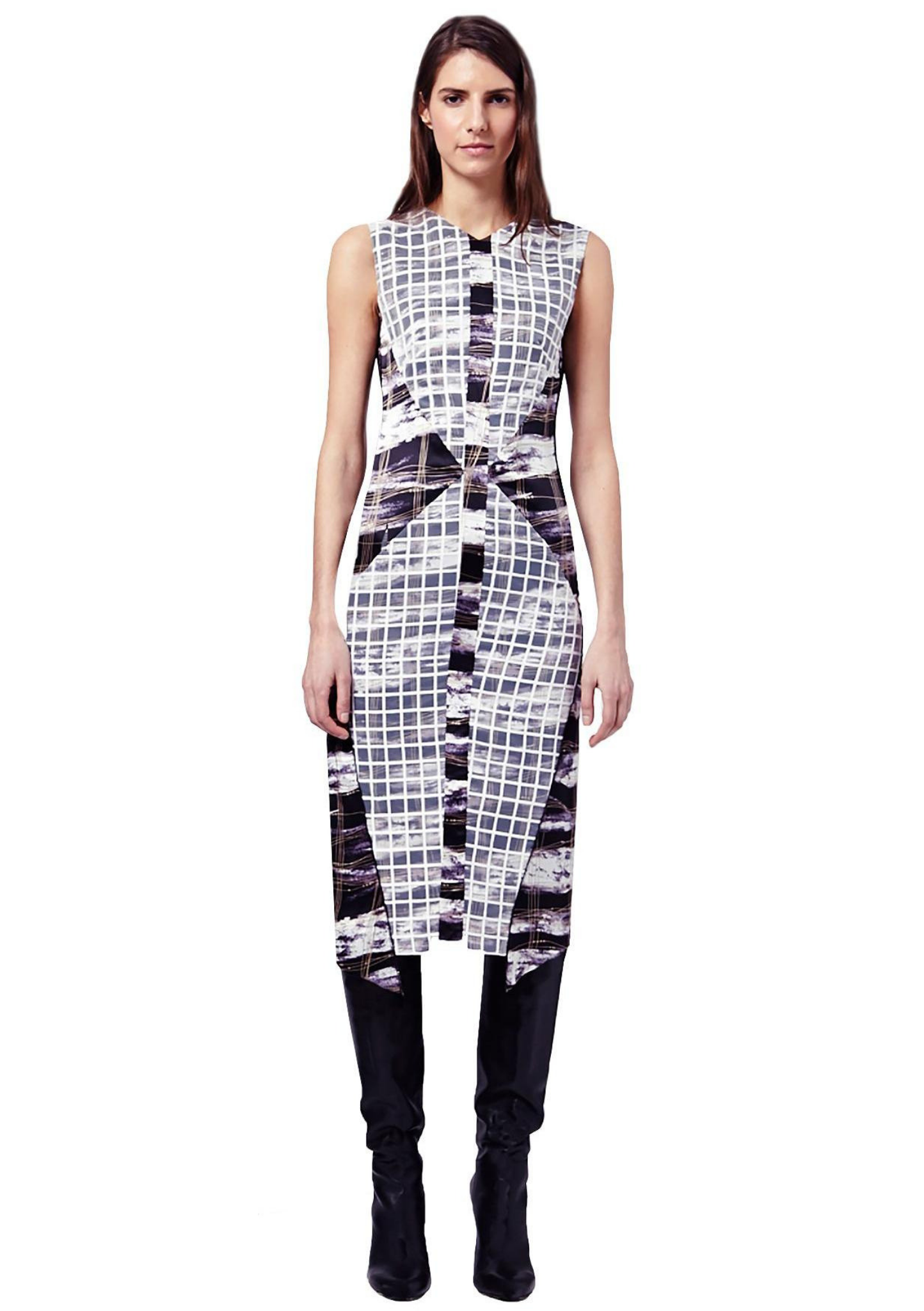 Graphic monochrome print, sleeveless and over the knee, pencil shape dress