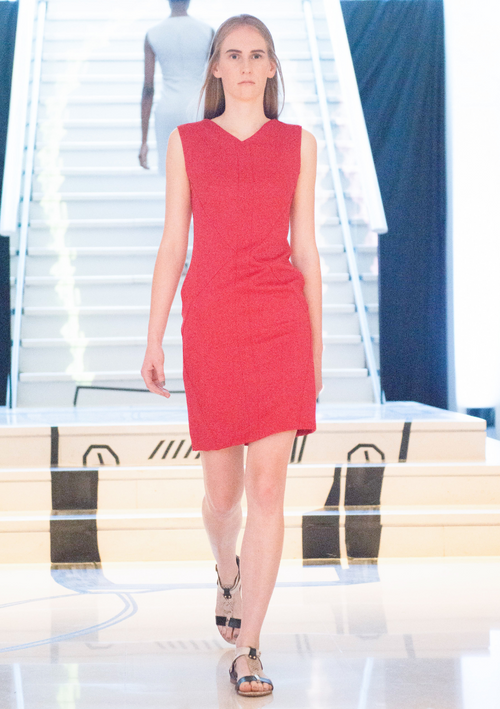 Peggy Red Stretch Cady Dress - HEMYCA London