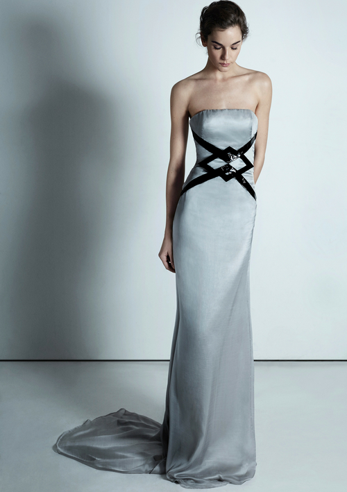 Silvery silk, strapless, bespoke gown with a small train