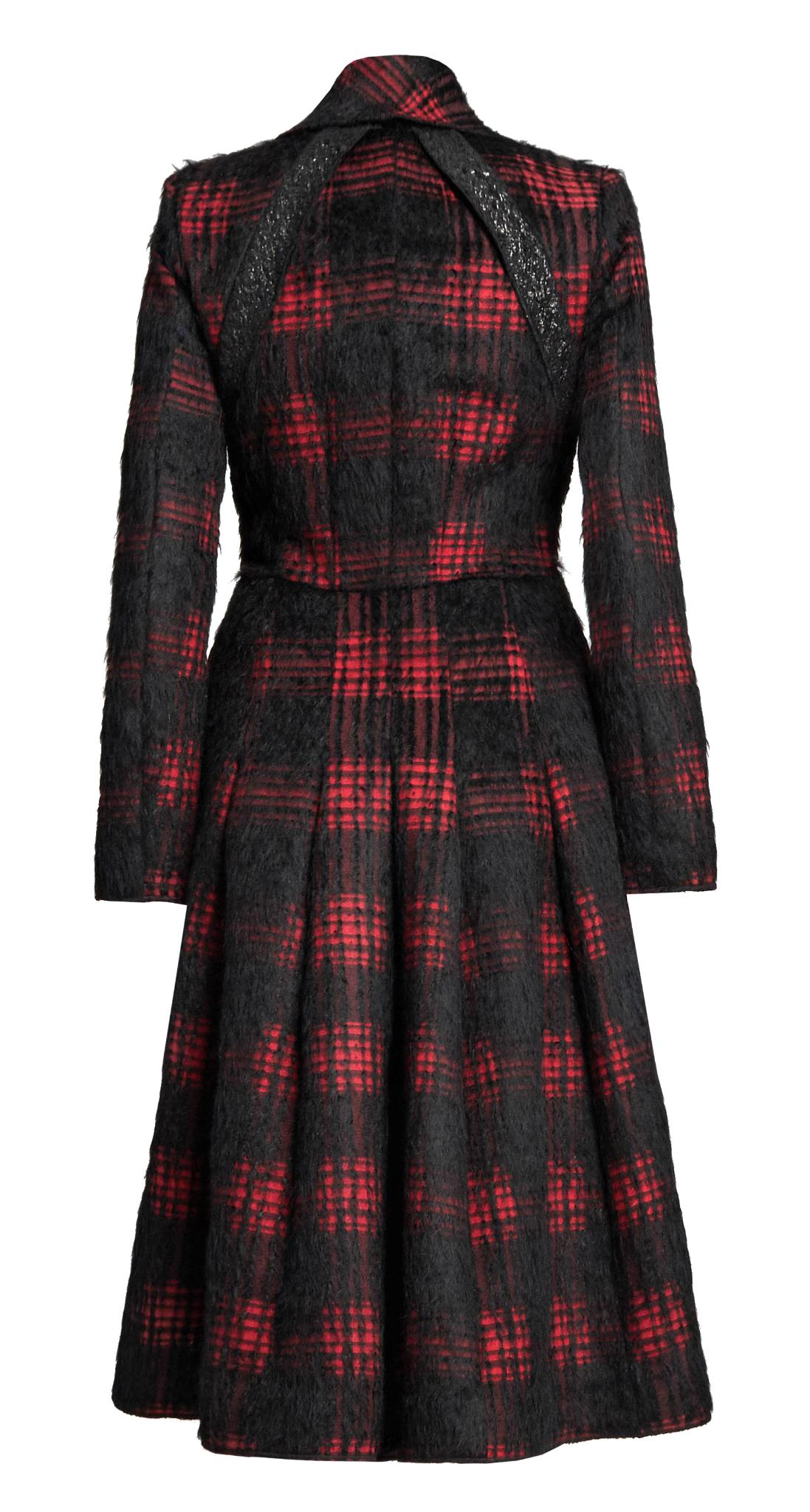 Red and black check wool-blend coat