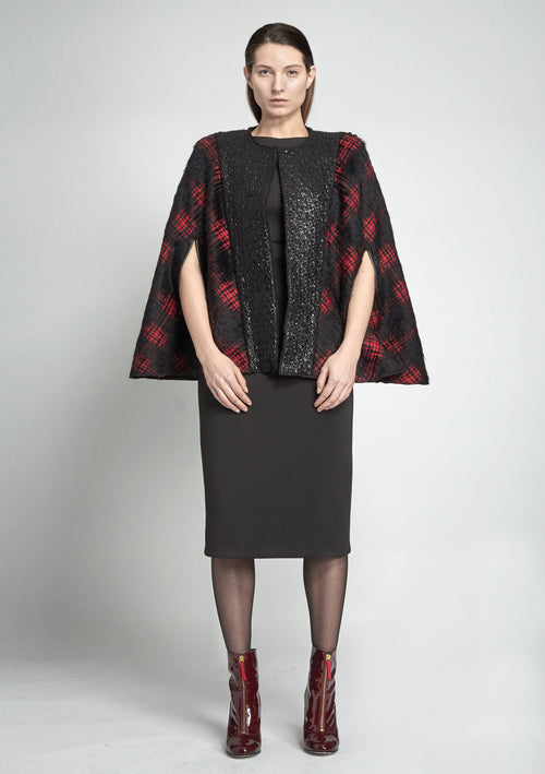 Short, classic plaid patterned cape