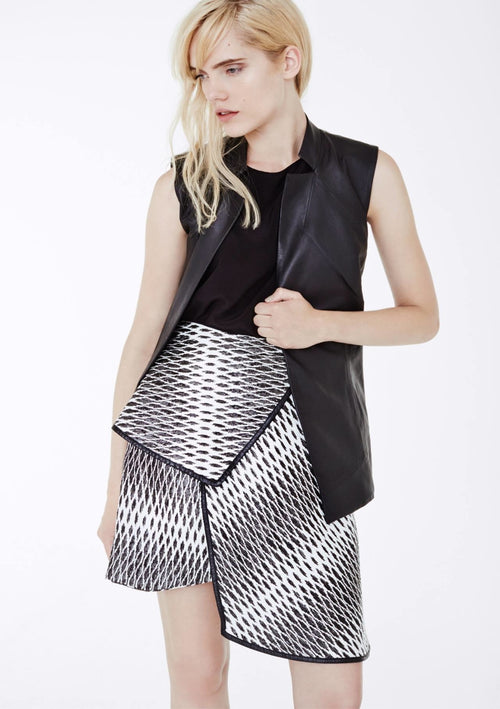 The black and white jacquard print bess skirt