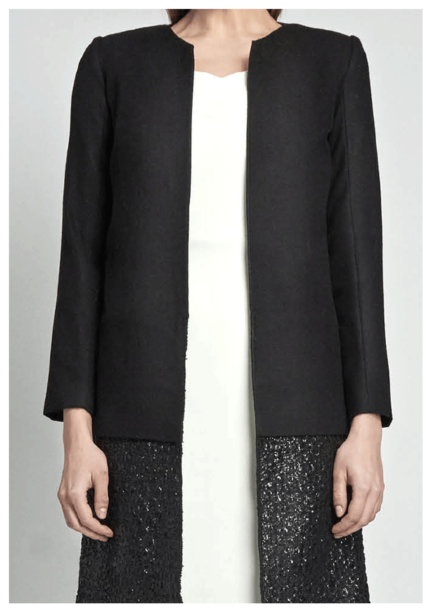 Black, cashmere and wool coat with edge-to-edge hems finish