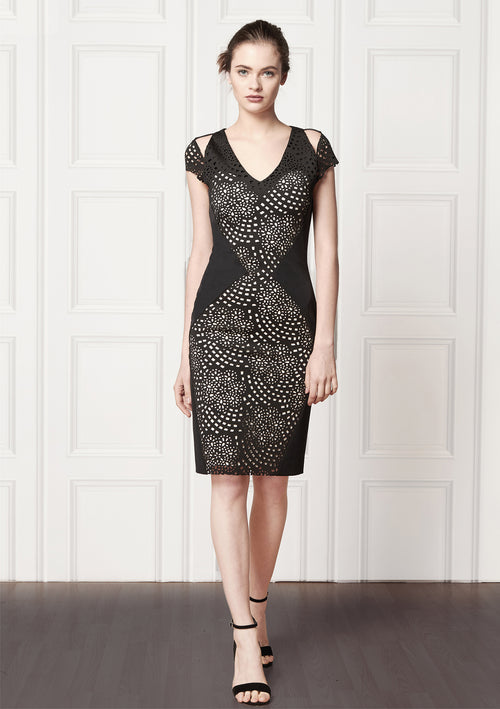 Celia Lasercut Cady Dress - HEMYCA London