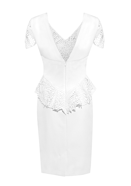 White midi dress detailed with lace that adorns the sleeves, bust and waist